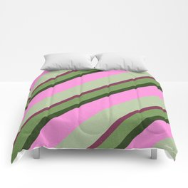 Pink Roses in Anzures 1 Stripes 3D Comforters