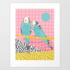 Hottie - throwback retro 1980s 80s style memphis dots bird art neon cool hipster college dorm art Art Print