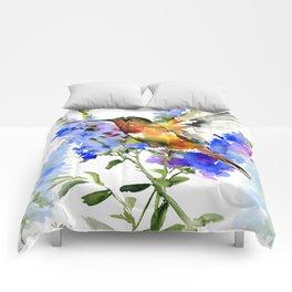 Alen's Hummingbird and Blue Flowers, floral bird design birds, watercolor floral bird art Comforters