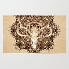 Deer Skull and Belladonna Mandala Rug
