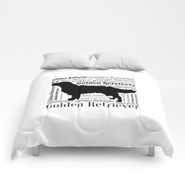 Golden Retriever Silhouette with Typography Comforters