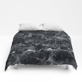 Black marble texture Comforters