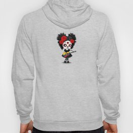 Day of the Dead Girl Playing Ecuadorian Flag Guitar Hoody