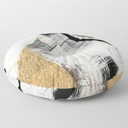 Armor [9]: a minimal abstract piece in black white and gold by Alyssa Hamilton Art Floor Pillow