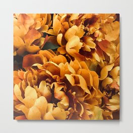 Autumn Leaves in Pumpkin Spice Orange Latte Metal Print
