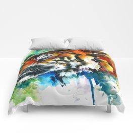 Orange Mad Tiger Watercolor Comforters