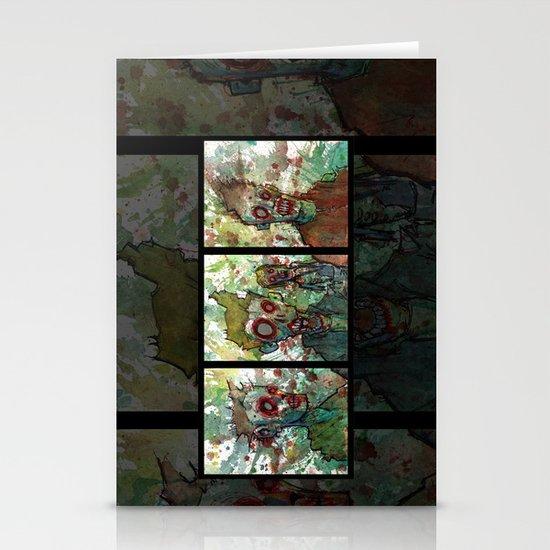 zombie triptych Stationery Cards