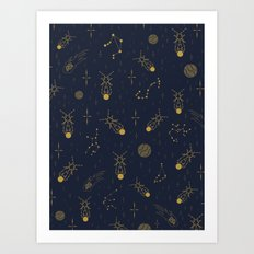 Golden Fireflies Constellations Art Print