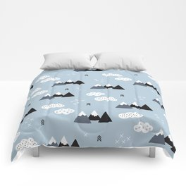 Cool winter wonderland snow Fuji Mountain geometric illustration pattern Comforters