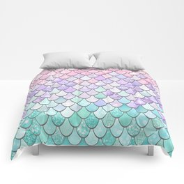 Cute Pretty Fun Girly Pattern, Ombre Pastel Pink, Purple, Teal Comforters