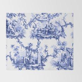 Blue Chinoiserie Toile Throw Blanket