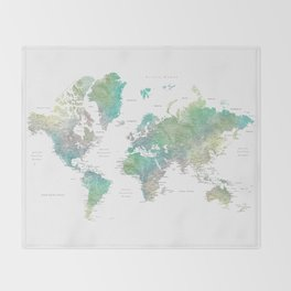 Watercolor world map in muted green and brown Throw Blanket