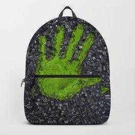 Carbon handprint / 3D render of modern city with handprint shaped park Backpack