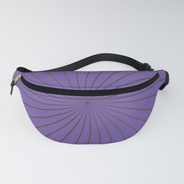 3D Purple and Gray Thin Striped Circle Pinwheel Digital Graphic Design Fanny Pack