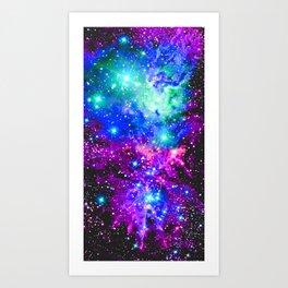 Fox Fur Nebula Galaxy Pink Purple Blue Art Print
