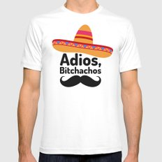 Adios Bitchachos White Mens Fitted Tee 2X-LARGE