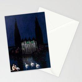 Château enchanté with woman & swans portrait by Bolesław Biegas Stationery Cards