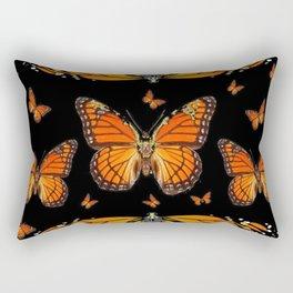 ABSTRACT ORANGE MONARCH BUTTERFLIES BLACK  PATTERNS Rectangular Pillow