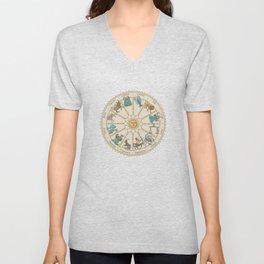 Vintage Astrology Zodiac Wheel Unisex V-Neck
