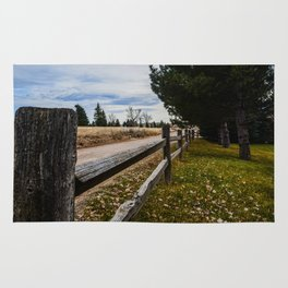 Country Wooden Fence Line Rug