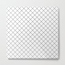 Abstract Diamond Grid Lines White and Black 12 Metal Print