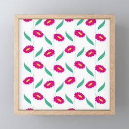 Floral stripes - pink and green Framed Mini Art Print