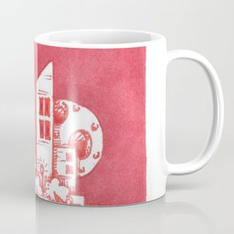 Red Floatie Island Buildings Coffee Mug