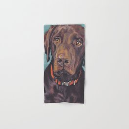 Chocolate lab LABRADOR RETRIEVER dog portrait painting by L.A.Shepard fine art Hand & Bath Towel