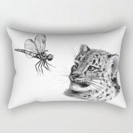 Snow leopard cub and dragonfy G148 Rectangular Pillow
