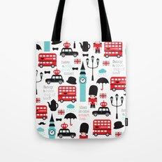 London icons illustration pattern print Tote Bag
