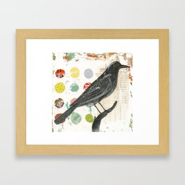 Black Bird Collage 1 Framed Art Print