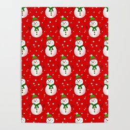 Snowman Pattern Red - Merry Christmas Poster