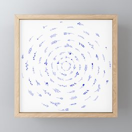 Minimalist Spring Floral Cyclone (Blue) Framed Mini Art Print