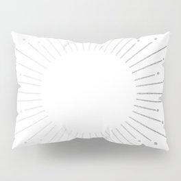 Sunburst Moonlight Silver on White Pillow Sham