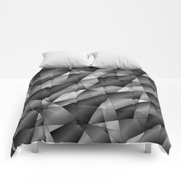 Exclusive monochrome pattern of chaotic black and white fragments of glass, metal and ice floes. Comforters