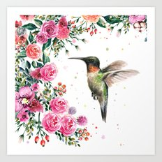 Hummingbird and Flowers Watercolor Animals Art Print