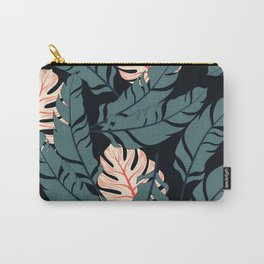 Trend seamless tropical pattern with bright plants and leaves on a black background. Seamless exotic pattern with tropical plants. Hawaiian style. Carry-All Pouch