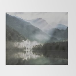 Dreamlike Morning at the Lake - Nature Forest Mountain Photography Throw Blanket