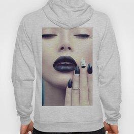 Fashion model girl with trendy gothic black Hoody
