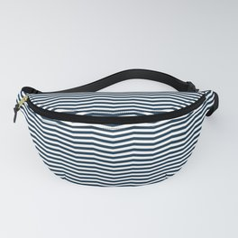 Midnight Blue and White Christmas Wavy Chevron Stripes Fanny Pack