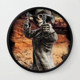 LETS DANCE Skeleton Western Gunslinger Cowboy Print Wall Clock