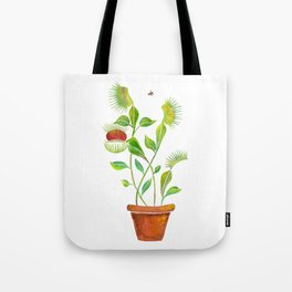 Venus Fly Trap Watercolor Tote Bag