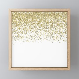 Sparkling gold glitter confetti on simple white background - Pattern Framed Mini Art Print