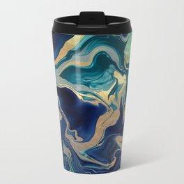 DRAMAQUEEN - GOLD INDIGO MARBLE Metal Travel Mug