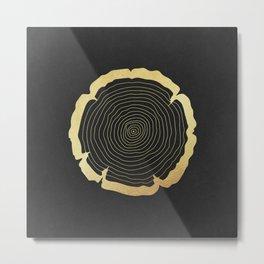 Metallic Gold Tree Ring on Black Metal Print