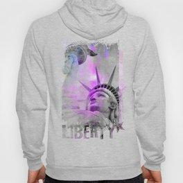 Statue of  Liberty pink mixed media art Hoody