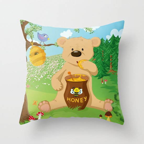 Baer with honey Throw Pillow