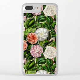 Vintage & Shabby Chic Green Dark Floral Camellia  Flowers Watercolor Pattern Clear iPhone Case