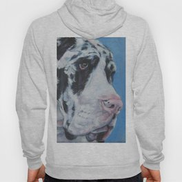 Harlequin Great Dane dog portrait art from an original painting by L.A.Shepard Hoody