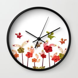 Imaginary Vintage Feather Flower Dragons Wall Clock